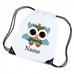 Large Owl Personalised Sports Nylon Draw String Gym Sack Pack & Rope Bag.