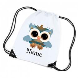 Large Owl Personalised Sports Nylon Draw String Gym Sack Pack & Rope Bag.