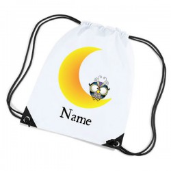 Owl & The Moon Sleep Over- Bag. Personalised Sports Nylon Draw String Gym Sack Pack & Rope Bag.