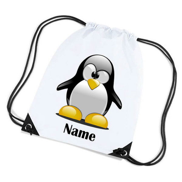 Penguin Cartoon Personalised Sports Nylon Draw String Gym Sack Pack & Rope Bag.