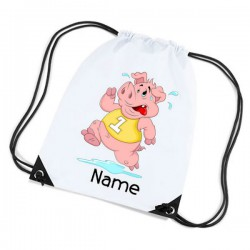 Cartoon Running Pig Personalised Sports Nylon Draw String Gym Sack Pack & Rope Bag.