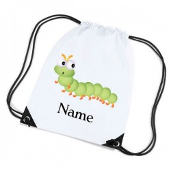 Green Caterpillar Personalised Sports Nylon Draw String Gym Sack Pack & Rope Bag.