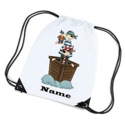 Pirate Ship Personalised Sports Nylon Draw String Gym Sack Pack & Rope Bag.
