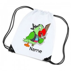 Pirate Parrot Personalised Sports Nylon Draw String Gym Sack Pack & Rope Bag.