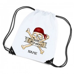 Pirate Skull & Cross Bones Cartoon Personalised Sports Nylon Draw String Gym Sack Pack & Rope Bag.
