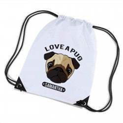 Cute Character Pug Personalised Sports Nylon Draw String Gym Sack Pack & Rope Bag.
