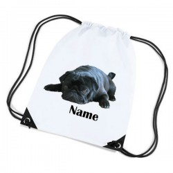 Cute Black Pug Personalised Sports Nylon Draw String Gym Sack Pack & Rope Bag.
