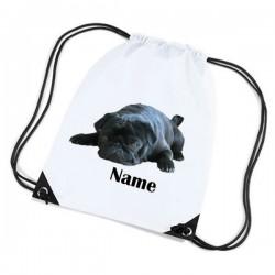 Cute Black Pug Personalised Sports Nylon Draw String Gym Sack Pack & Rope Bag.
