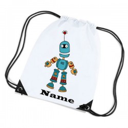 Robot Cartoon Personalised Sports Nylon Draw String Gym Sack Pack & Rope Bag.