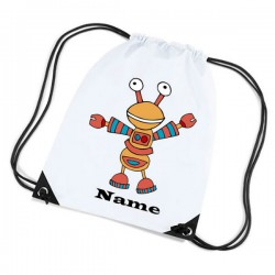 Cartoon Robot Personalised Sports Nylon Draw String Gym Sack Pack & Rope Bag.
