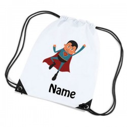 Super Boy Illustration Personalised Sports Nylon Draw String Gym Sack Pack & Rope Bag.