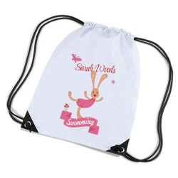 Rabbit white sports nylon drawstring gym sack pack and rope bag. Nice Stocking Filler