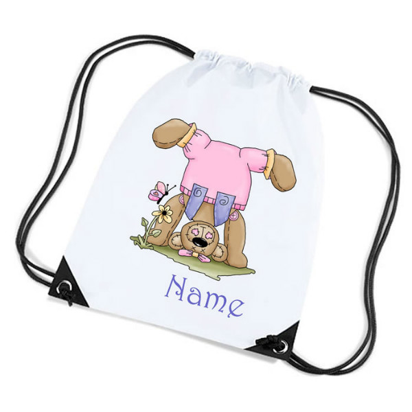 Cute Cuddly Teddy Cartoon Personalised Sports Nylon Draw String Gym Sack Pack & Rope Bag.