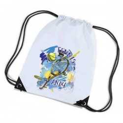 Tennis Personalised Sports Nylon Draw String Gym Sack Pack & Rope Bag. Colourful Grunge Style