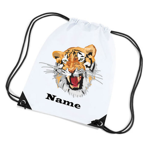 Tiger Illustration Personalised Sports Nylon Draw String Gym Sack Pack & Rope Bag.