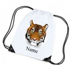 Illustrated Tiger Personalised Sports Nylon Draw String Gym Sack Pack & Rope Bag.