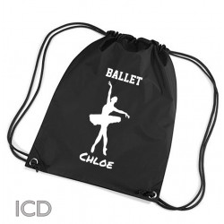 Personalised Ballet Dance Sports Nylon Draw String Gym Sack Pack & Rope Bag.