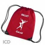 Ballet Dancing Personalised Sports Nylon Draw String Gym Sack Pack & Rope Bag.