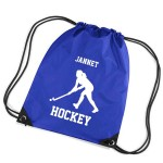 Hockey Personalised Sports Nylon Draw String Gym Sack Pack & Rope Bag. Woman / Girl Design Lots Of Colours