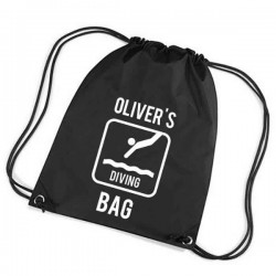 Swimming Personalised Sports Nylon Draw String Gym Sack Pack & Rope Bag. Lots Of Colours