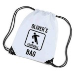 Football Personalised Sports Nylon Draw String Gym Sack Pack & Rope Bag. Lots Of Colours