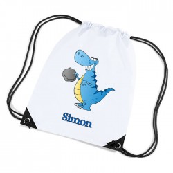 Cute Funny Blue T Rex Dinosaur Personalised Sports Nylon Draw String Gym Sack Pack & Rope Bag.