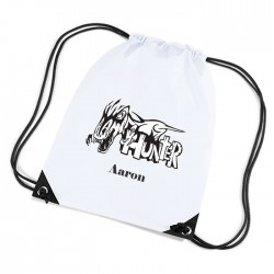 T Rex Dinosaur Personalised Sports Nylon Draw String Gym Sack Pack & Rope Bag.