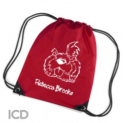 Personalised Scruffy dog Sports Nylon Draw String Gym Sack Pack & Rope Bag.