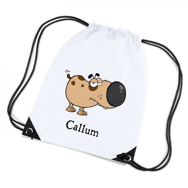 Fun Little Dog Personalised Sports Nylon Draw String Gym Sack Pack & Rope Bag.
