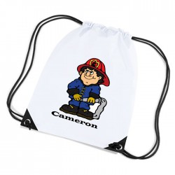 Fireman Personalised Sports Nylon Draw String Gym Sack Pack & Rope Bag.