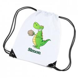 T Rex Green Dinosaur Personalised Sports Nylon Draw String Gym Sack Pack & Rope Bag.