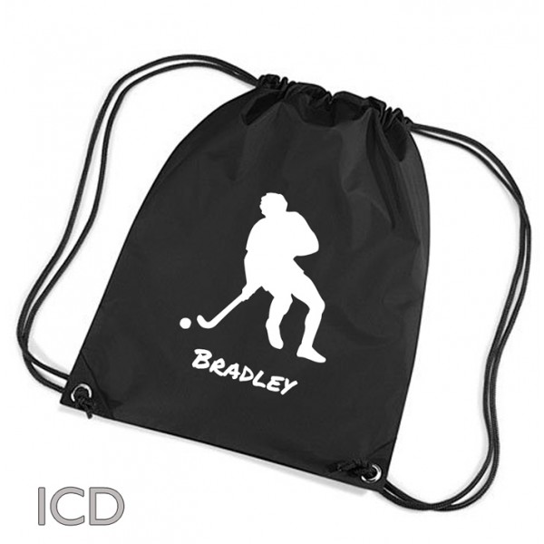 Personalised Hockey Sports Nylon Draw String Gym Sack Pack & Rope Bag. Available In Lots Of Colours
