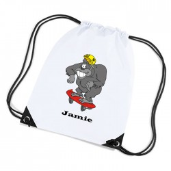 Fun Skateboarding Gorilla Personalised Sports Nylon Draw String Gym Sack Pack & Rope Bag.