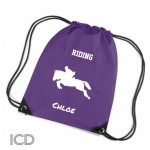 Horse Equestrian Show Jump Sports Nylon Draw String Gym Sack Pack & Rope Bag.
