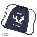 Personalised Rugby Sports Nylon Draw String Gym Sack Pack & Rope Bag. Available In Lots Of Colours