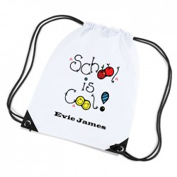 School Is Cool Personalised Sports Nylon Draw String Gym Sack Pack & Rope Bag.