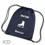 Personalised Ice Skating Sports Nylon Draw String Gym Sack Pack & Rope Bag.