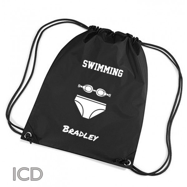 Boys Swimming Personalised Sports Nylon Draw String Gym Sack Pack & Rope Bag.