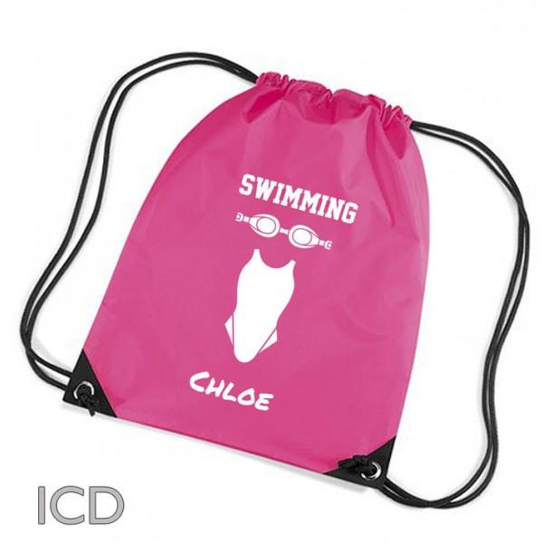 Girls Swimming Personalised Sports Nylon Draw String Gym Sack Pack & Rope Bag.
