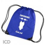 Girls Swimming Personalised Sports Nylon Draw String Gym Sack Pack & Rope Bag.
