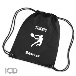 Personalised Tennis Sports Nylon Draw String Gym Sack Pack & Rope Bag. Available In Lots Of Colours