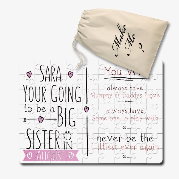 You are going to be a big sister Personalised  jigsaw puzzle