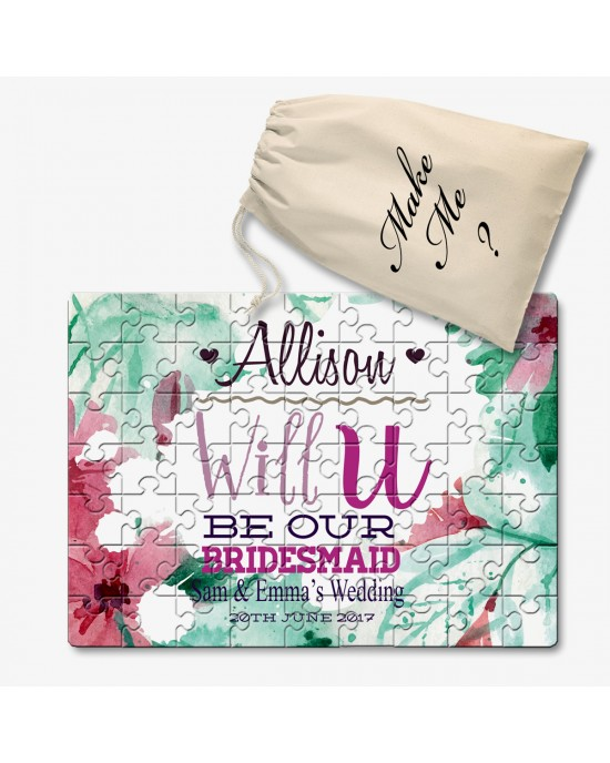Personalised Will You Be Our Bridesmaid Jigsaw message Puzzle