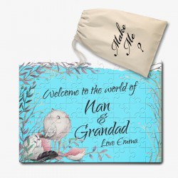 New baby Announcement Nan & Granddad Personalised Puzzle