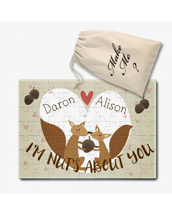 I'm Nuts About You Personalised  jigsaw Love puzzle