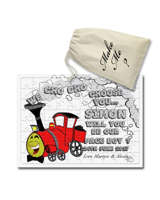 Personalised  Jigsaw message puzzle. Will You Be Our Page Boy, Train Design