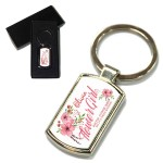 Flower Girl Flower Bouquet Design Thank You Key Ring. Polished Silver colour in a presentation box
