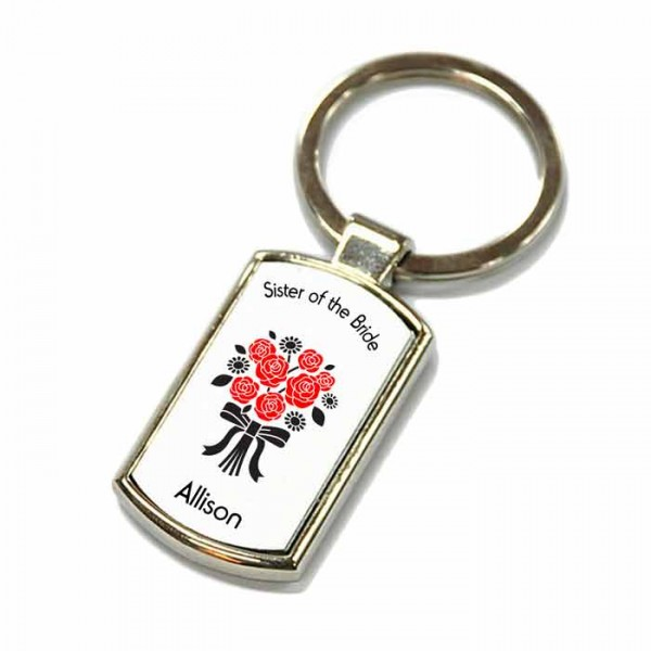 Flower Bouque, Wedding Gift Favour Key Ring For All Your Guests. Polished Silver colour in a presentation box