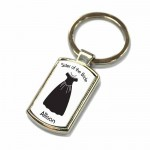 Brides Dress, Wedding Gift Favour Key Ring For All Your Guests. Polished Silver colour in a presentation box