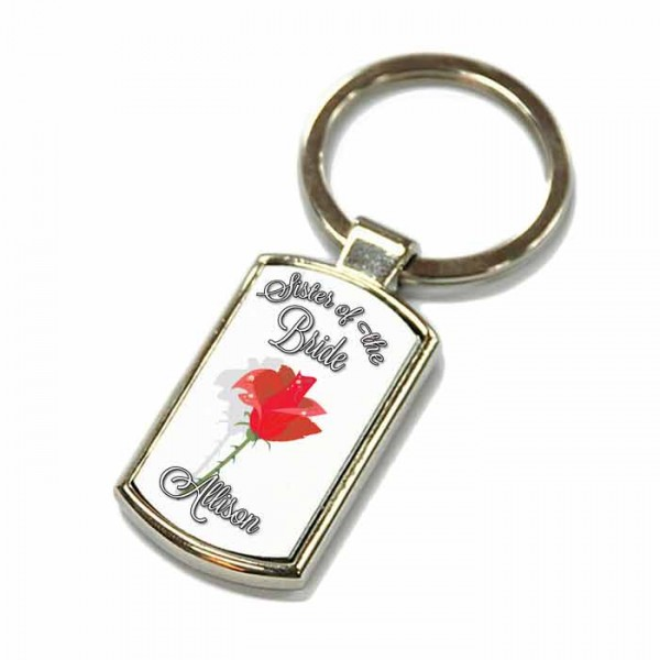Red Rose Design, Wedding Gift Favour Key Ring For All Your Guests. Polished Silver colour in a presentation box